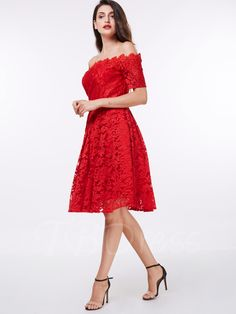 dcf6975dbe8 Off the shoulder cocktail dress red lace A-line knee length short sleeves  dress homecoming short cocktail party gown