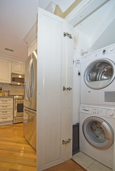 Stacked Washer Design Ideas, Pictures, Remodel, and Decor loved having my washer and dryer in the kitchen when I lived in Texas