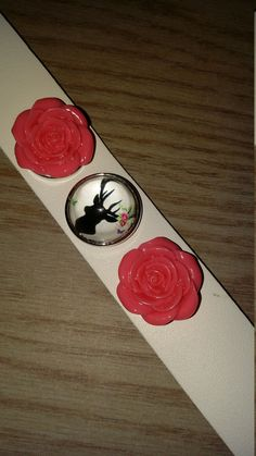 Leather snap bracelet with rose snaps and deer snap..shooting hunting jewelry by CamoAndAmmoBoutique on Etsy