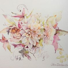 by olena duchene Watercolor Art Lessons, Watercolor Art Diy, Watercolor Art Paintings, Watercolor Flowers, Watercolors, Illustration Blume, Botanical Illustration, Watercolor Illustration, Art Floral