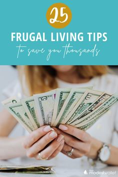 Are you ready to start saving money and living frugally? Maybe you're on your debt free journey looking for tips to save money? Now more than ever finding the best money tips and life hacks is a necessity. This list of frugal tips covers everything from frugal meals, best coupons apps, tips for beginners and more! Check out these 25 best frugal living tips and ideas to help you start saving money today! #frugalliving #savingmoney #frugallivinghacks