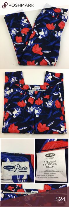 """Old Navy Pixie Ankle Pants Floral Design Old Navy Pixie Ankle Pants with a Floral Design.   These Pixie Pants have stretch for a figure flattering fit.  Flat front, slant pockets in front.   🌸Size 8 Regular  🌸Waist (flat lay) 15.5"""" 🌸Front rise 8"""" 🌸Length 26"""" 🌸Material 95% Cotton, 5% Spandex Old Navy Pixie Pants Ankle & Cropped"""