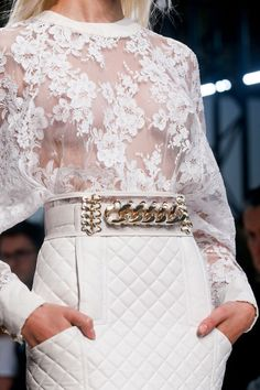 Balmain white lace top and white quilted skirt