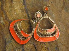Vintage Vendome Orange Enamel Earrings With Screw Clips Groovy and Mod Dangle…