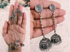 Jewelryclub - Shop from the latest collection of Earrings for women & girls online. Buy studs, ear cuff, drop & more Earrings at best price, COD. Silver Jhumkas, Buy Jewellery Online, Buy Earrings, Oxidised Jewellery, Oxidized Silver, Silver Jewelry, Chain, India, Design