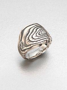 David Yurman elongated cushion wood grain ring