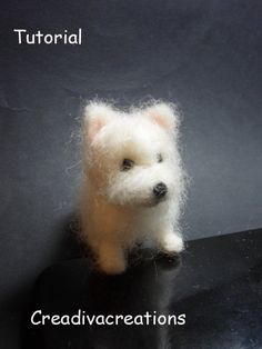 Pdf pattern to make your own miniature Westie dog  A mix of short hair and long hair. Very clear tutorial: 8 pages and about 40 pictures.