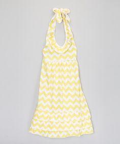 Loving this Yellow Zigzag Ruffle Halter Dress - Toddler & Girls on #zulily! #zulilyfinds