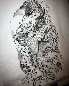 New dragon design/sketch for my next outline appointment is completed. Hopefully my client will like it 🙏 Asian Dragon Tattoo, Japanese Dragon Tattoos, Japanese Tattoo Art, Magic Tattoo, Tattoo On, Dragon Tattoo Designs, Best Tattoo Designs, New Dragon, Dragon Art