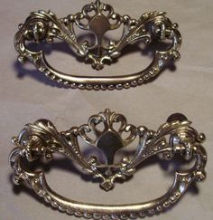 2 (two) Antique Vintage Old Brass drawer pull Furniture Hardware, Cabinet Hardware, Brass Drawer Pulls, Cabinets, Drawers, Brooch, Antiques, Vintage, Ebay