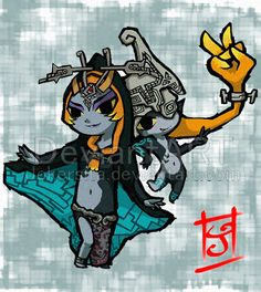 "Midna as Twilight Princess and in imp form Wind Waker style - The Legend of Zelda: Twilight Princess; fan art ""WW Midna"" by ~Jokersita on deviantARTs"