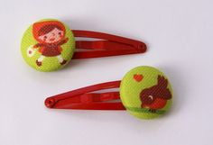 Little Red Riding Hood hairclips by ByBora on Etsy, $6.95