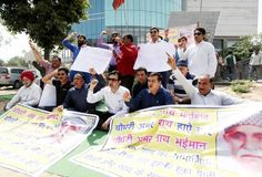 Investors of Palm Island Mall protesting against the landlord on Sunday.