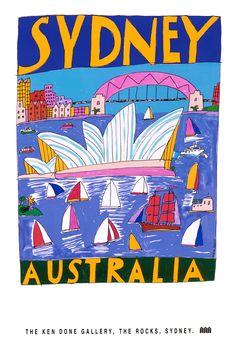 Ken Done - shop / posters / sydney australia Posters Australia, Australian Vintage, Pub, Kendo, Aboriginal Art, Australian Artists, Vintage Travel Posters, Of Wallpaper, Creative Art