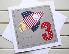 3rd Birthday Card - Handmade - Machine Embroidered - Rocket - Personalised Insert - 3 Today