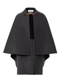 Layered wool and suede cape coat   Valentino   MATCHESFASHION.COM