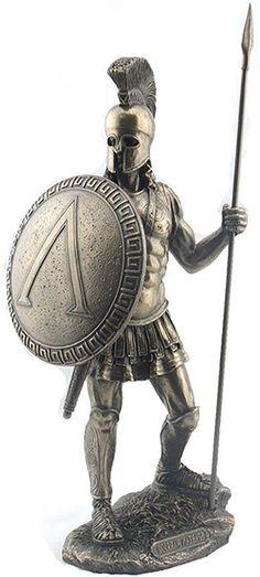"Amazon.com: Custom & Unique {14.4"" Inch} 1 Single Large, Home & Garden ""Standing"" Figurine Decoration Made of Genuine Bronze w/ Antique Metallic Spartan Classic Warrior w/ Spear Style {Gold & Black Color}: Home & Kitchen"
