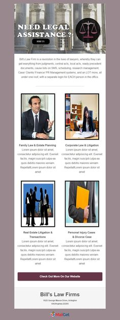 I've crafted 5 Best Email Templates For Lawyers & Law Firms with MailGet's email template builder. All are free and can be used for email marketing purpose. E-mail Marketing, Facebook Marketing, Affiliate Marketing, Online Marketing, Digital Marketing, Family Law Rules, Free Email Templates, Business Templates, Separation Agreement Template