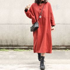 Chinese Buttons Plus Size Linen Clothing Casual Spring Vacation Dress    #plussize #linen #casual #vacationdress #dress #vintage #retro #orange #ootd