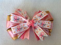 Breast Cancer Hair Bow With Glitter And Matching Headband, Girls handmade #breastcancer