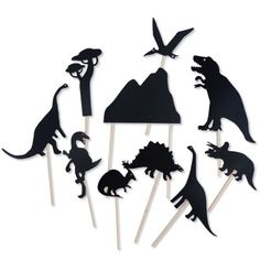 Let his imagination soar with these sturdy cardboard shadow puppets in the shape of different dinosaurs. Perfect for bedtime story telling!