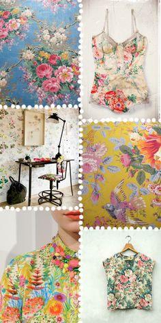 Retro flowers  Vintage fashion &botanical patterns.  Images: Pinterest|Pinterest | Nestprettythings| Studio Sjoesjoe| J.Crew| Sweet decade