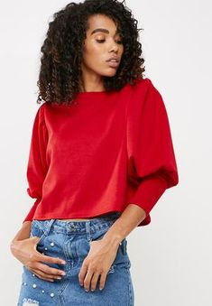 Missguided Puffball Sleeve Round Neck Blouse Red