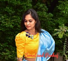 Staid Puff-sleeved blouse design makes everyone Irresistible – Fascinate Blouses Simple Blouse Designs, Stylish Blouse Design, Designer Blouse Patterns, Fancy Blouse Designs, Blouse Neck Designs, Designer Dresses, Sleeves Designs For Dresses, Sumo, Blouse Models