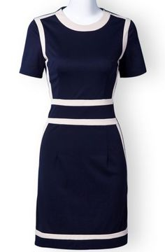 Blue Short Sleeve Zipper Contrast Trims Dress.  I would have worn this when I was in my 20's.  Love it!