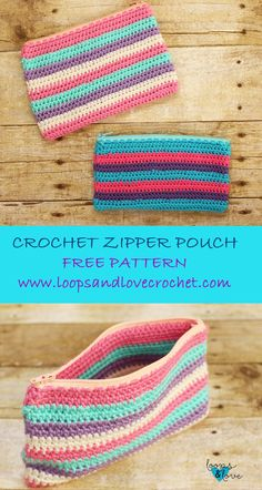 Cute and useful crochet zip-up pouch! Free Pattern!