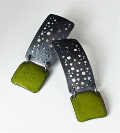 """Starry Night Earrings""  Silver & Enamel Earrings  Created by Reiko Miyagi"