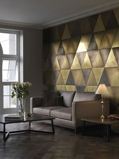 Maya Wall Tiles brass, semi brass, dark brass and bronze triangular tiles #walls #wallpaper