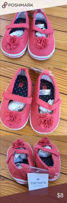 Carter's Pink Flower Crib Shoe NWT Size 4 Carter's Pink Flower Crib Shoe NWT Size 4. By the time my daughter fit into these, she was walking and needed real shoes. These are crib shoes and are meant to look cute, not be walked in! Carter's Shoes