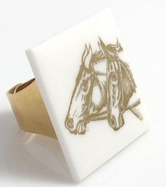 Vintage Gold and White Horse Ring by TashaHussey