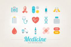 Flat medical icons by miumiu on @creativemarket