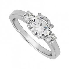 Beautifully designed in sterling silver, this ring has a cubic zirconia solitaire as its centrepiece. Additional stones set into the ring's shoulders provide all the sparkle a women could desire. Sterling Silver Jewelry, Silver Jewellery, Dress Rings, Three Stone Rings, Silver Dress, Sparkle, Engagement Rings, Lady, Beauty
