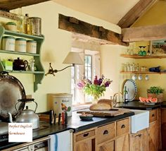 English farmhouse kitchen done with reclaimed materials. Granite Kitchen Counters, Kitchen Countertops, English Farmhouse, Faux Granite, Cocinas Kitchen, English Kitchens, Country Kitchen, Rustic Kitchen, Vintage Kitchen