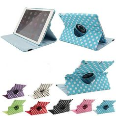 Wholesale  Case For iPad 5 iPad Air Case Stand Polka Dot 360 degree Rotation Smart Magnetic PU Leather Case For iPad5 iPad Air #Affiliate