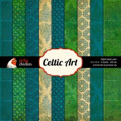 Celtic Art - Digital Scrapbook Paper Celtic Knotwork Irish background - 12x12 digital downloadable file