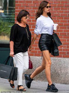 Irina Shayk flaunts legs in leather mini on stroll with mother Olga Irina Shayk Style, Irina Shayk Dress, Black Sneakers Outfit, Versace Sneakers, Beach Bunny Swimwear, Snake Print Dress, Victoria Secret Fashion, Russian Models, Cute Summer Outfits