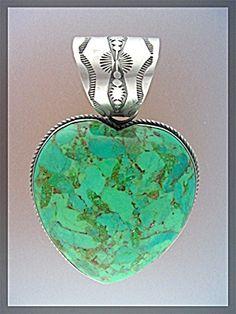 rocki gorman jewelry | ROCKI GORMAN Green Turquoise Reversible Heart Pendant (Jewelry-Silver ...