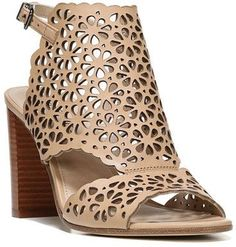 """$99.97 - Via Spiga Garnet Perforated Ankle Strap Sandal - Laser-cut floral perforations pattern a breezy leather sandal featuring flirty cutouts at the toe, instep and ankle, and a trend-right chunky stacked heel. Sizing: True to size. Open toe Laser-cut vamp Adjustable ankle strap with buckle closure Approx. 3 inches"""" heel Imported"""