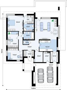 Dream House Exterior, Dream House Plans, Modern House Plans, Three Bedroom House Plan, Bungalow House Design, Facade House, Home Projects, Planer, Floor Plans