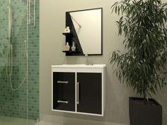 Gabinete para Banheiro com Espelho 1 Porta - 2 Gavetas - Móveis Bechara Madri
