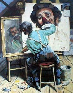 Norman Rockwell - Emmett Kelly take-off on self-portrait of the artist. Must go to the Rockwell Museum in Stockbridge, MA again this summer. Peintures Norman Rockwell, Norman Rockwell Art, Norman Rockwell Paintings, Art And Illustration, Emmett Kelly, Clown Paintings, L'art Du Portrait, Portraits, Le Clown