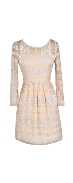 Lace In Line Dress in Blush  www.lilyboutique.com