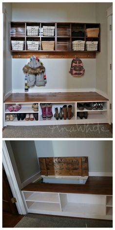 flip up mudroom storage bench - boots in the back shoes in the front!  DIY mudroom shelves by ana-white.com