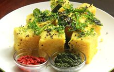 Khaman Dhokla. Steamed fermented chickpea batter.