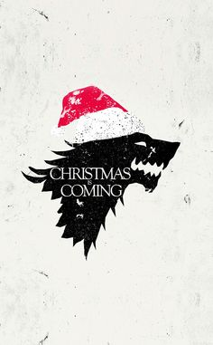 ↑↑TAP AND GET THE FREE APP! Holidays Christmas is Coming White Movies Series Game of Thrones Funny Santa Hat Wolf Direwolf Stark HBO HD iPhone 4 Wallpaper