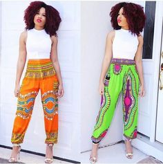 . African Wear, African Dress, African Fashion, Parachute Pants, Harem Pants, Sewing, How To Wear, Dresses, Africa Fashion